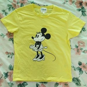 Disney Yellow Minnie Mouse Graphic Tee T Shirt